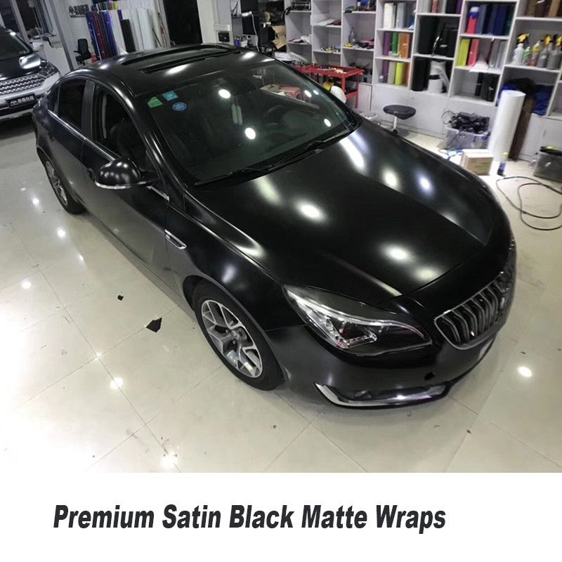 premium quality satin Black Matte Vinyl Car Wrap Air Bubble Free For Car Wrapping Foil size 5ft X 65ft/Roll