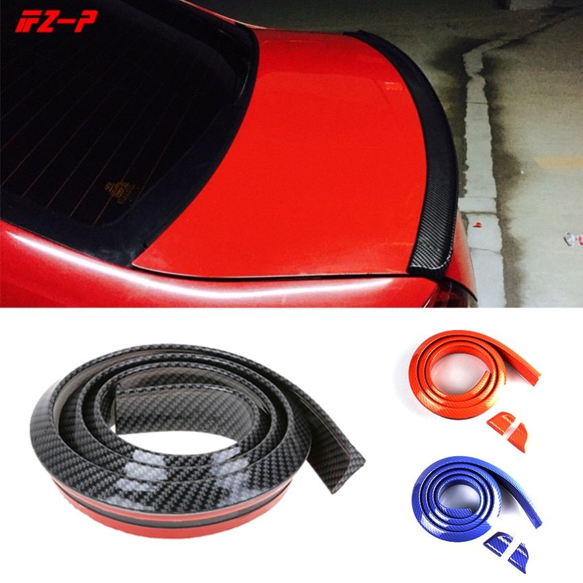 Car Styling Spoiler Universal for Rear Trunk wing Carbon Filber Soft Rubber Fits for Most Car 1.5 Meters Red Blue Black