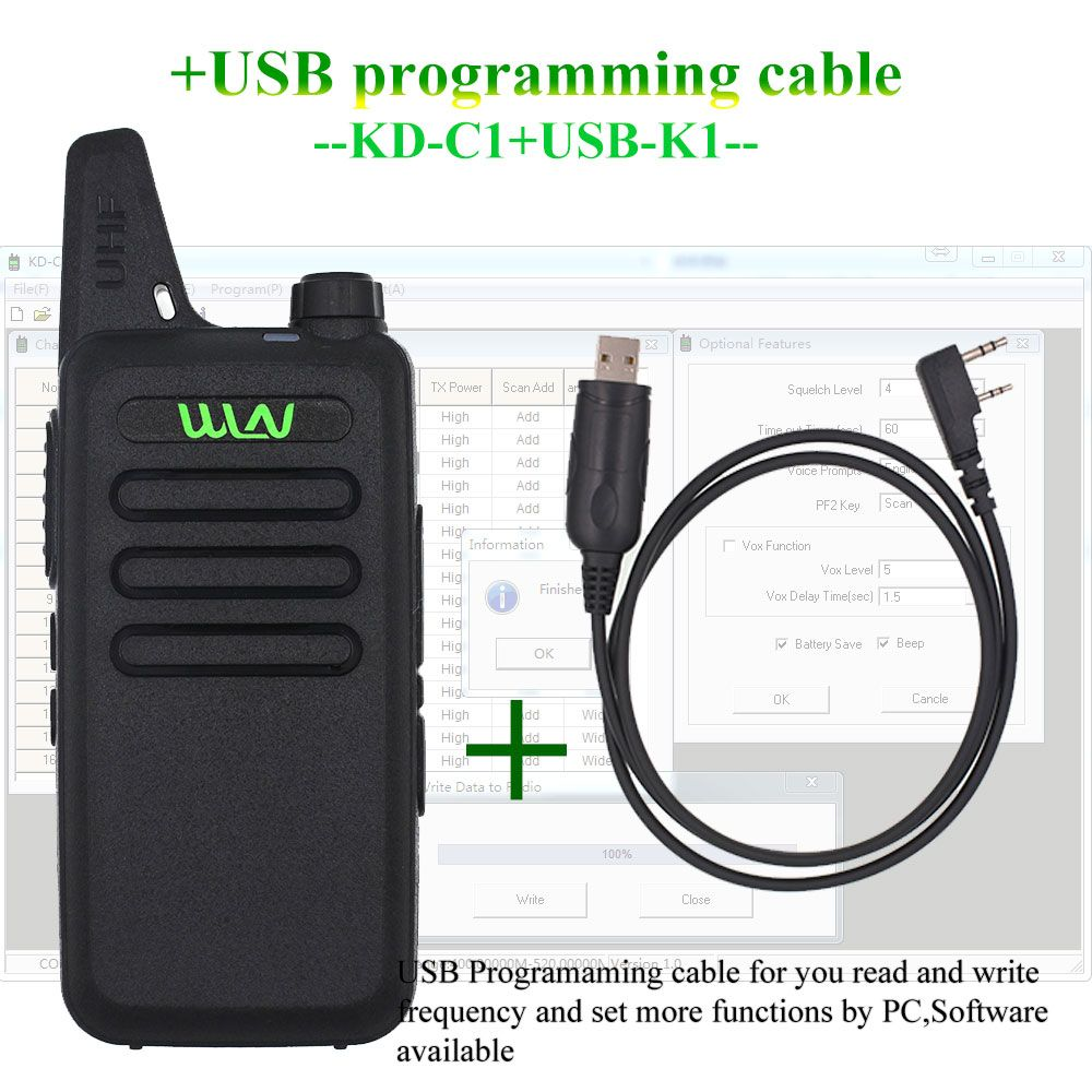 WLN KD-C1 Mini Walkie Talkie UHF 400-470 MHz 5W Power 16 Channel MINI-handheld Transceiver Better Than BF-888S