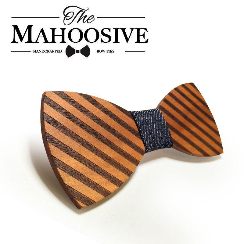 Mahoosive Striped Wood Bow Tie For Men Classic Wooden Bowties Neckwear Butterfly Wood Bow Tie Cravats Accessories Bowknot