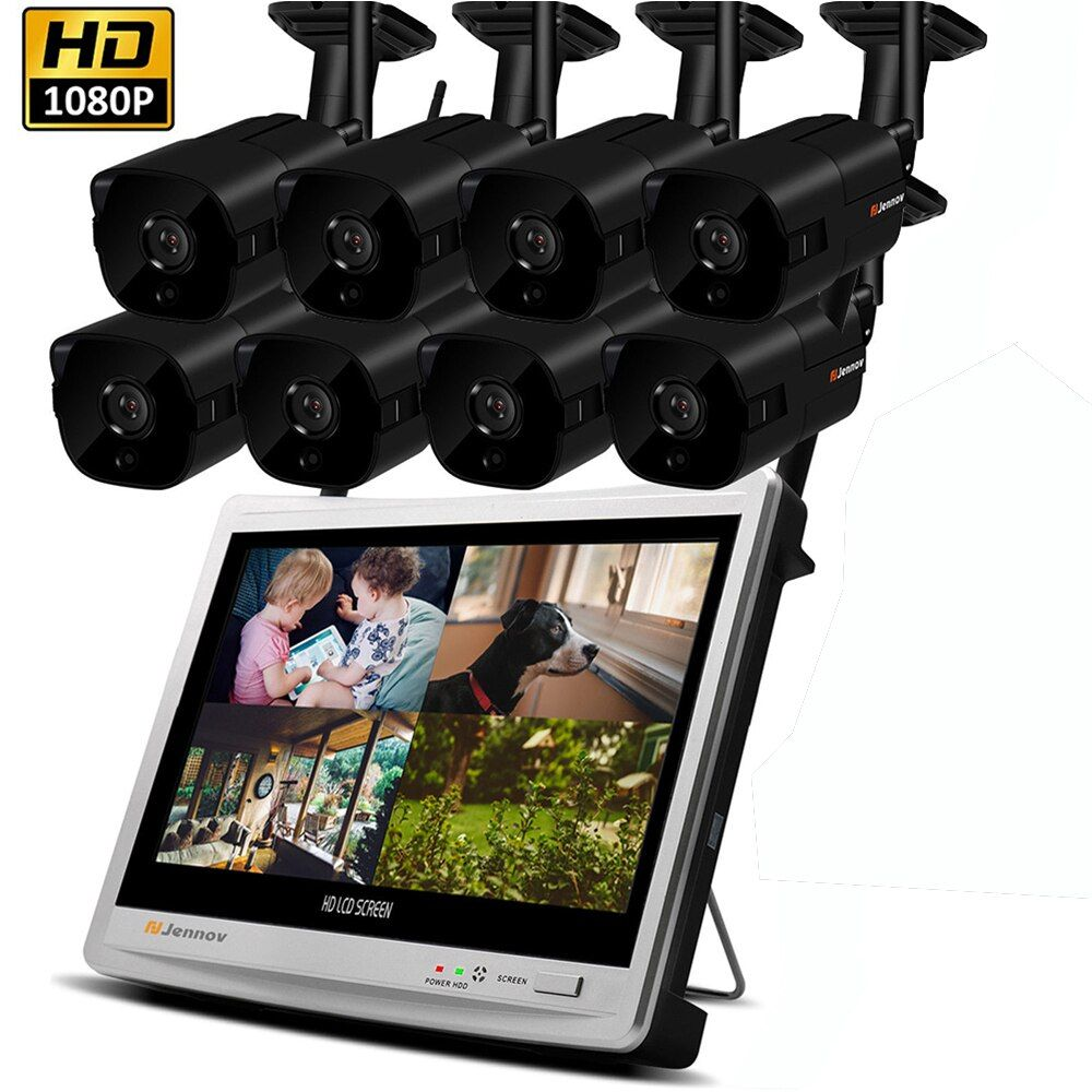 8CH 1080 p 2MP Sicherheit IP Kamera System Video Überwachung Kit Wireless NVR Mit 12 zoll LCD Monitor CCTV Set outdoor Home ipCam