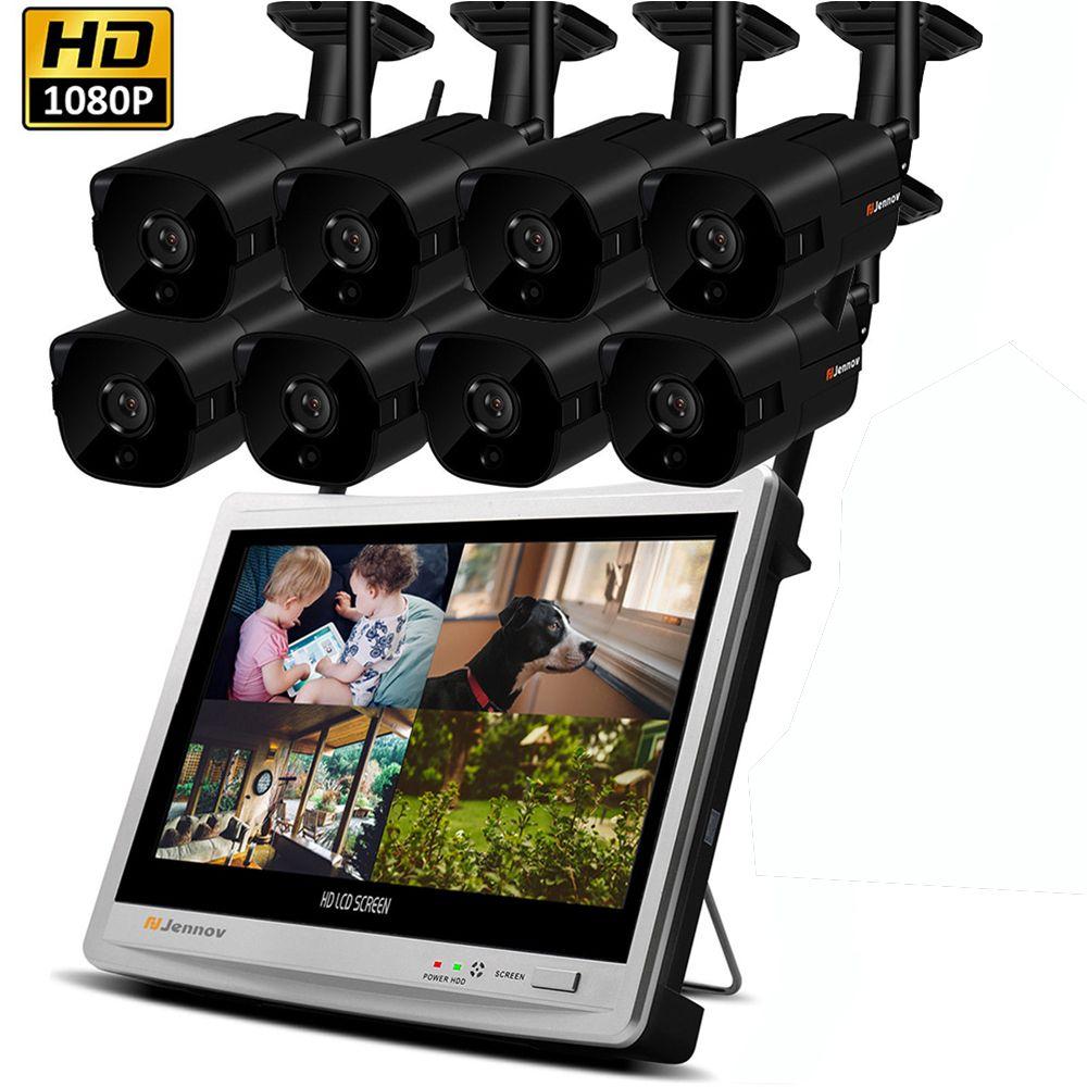 8CH 1080 p 2MP Sicherheit IP Kamera System Video Überwachung Kit Wireless NVR Mit 12 zoll LCD Monitor CCTV Set outdoor Home ipCam