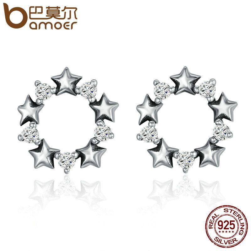 BAMOER Heißer Verkauf Echtem 925 Sterling Silber Stapelbar Star Stud Ohrringe für Frauen Funkelnden CZ Authentische Silber Schmuck SCE185