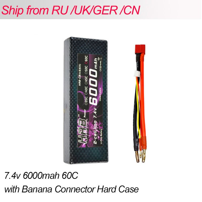 HRB Lipo 2S Battery 7.4V 6000mah 60C Max 120C Hard Case Banana Connector RC Battery For Remote Control Car Truck Quadcopter