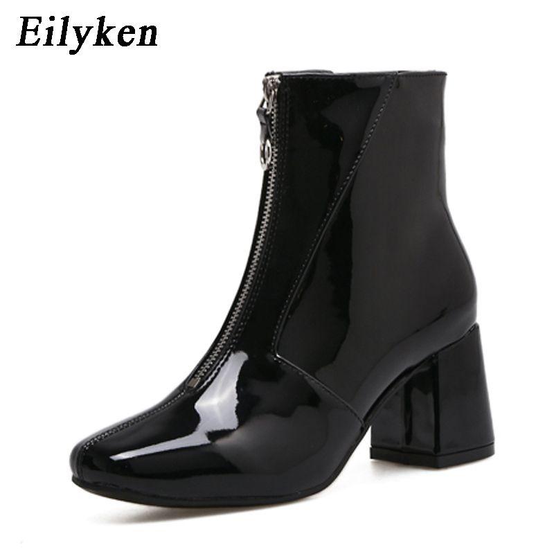 Eilyken Autumn Fashion Chelsea Boots 2018 New Dropshipp Low Heel Boots Zipper Women Round Toe Square heel Patent Leather Boots