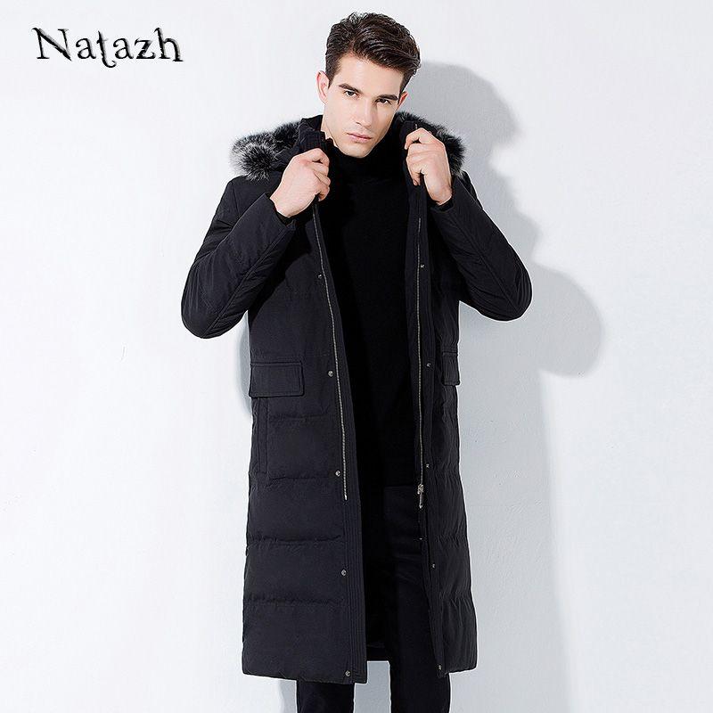 NATAZH NEUE 2017 Winter X-lange Jacke Männer Daunenmantel Parkas Männlich Jacke Verdickt Warme Fuchspelz kragen