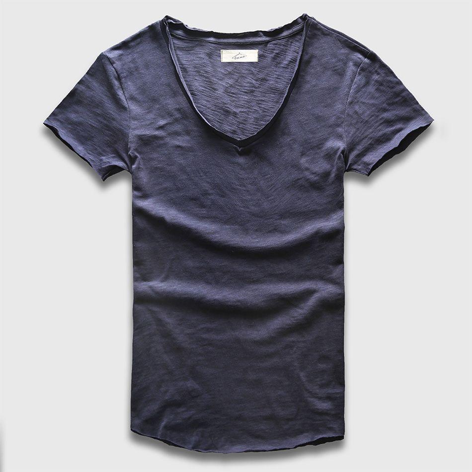 Zecmos profonde V Scoop cou T-Shirt hommes haut basique t-shirts décontracté mâle Slim Fit T Shirt luxe courbé ourlet bleu marine Tee Muscle