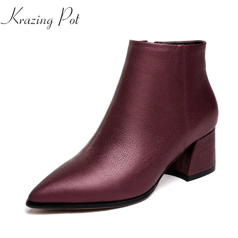 Krazing Pot streetwear genuine leather limited customization career office lady keep warm profession fashion ankle boots L8f1
