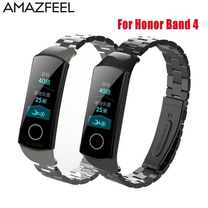 Bracelet de montre en métal pour Huawei Honor Band 4 Bracelet en acier en métal Huawei Band 4 Bracelet en acier inoxydable Bracelet remplacer
