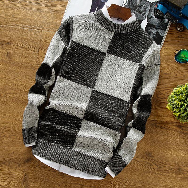 2018 г. мужские chunxiu Высота воротника оказать проверил свитер модный свитер Bobo
