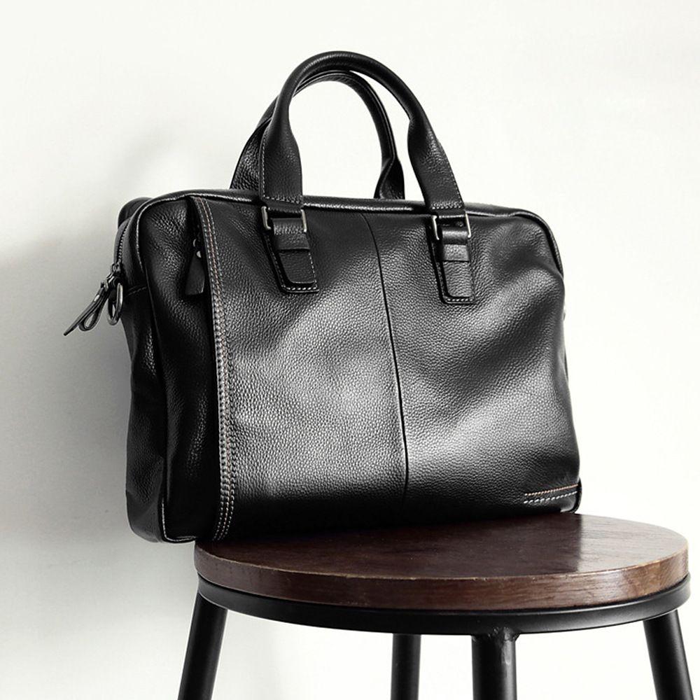 2018 New Natural Cowskin 100% Genuine Leather Men's Briefcase Fashion Large Capacity Business bag Black Male Shoulder Laptop Bag