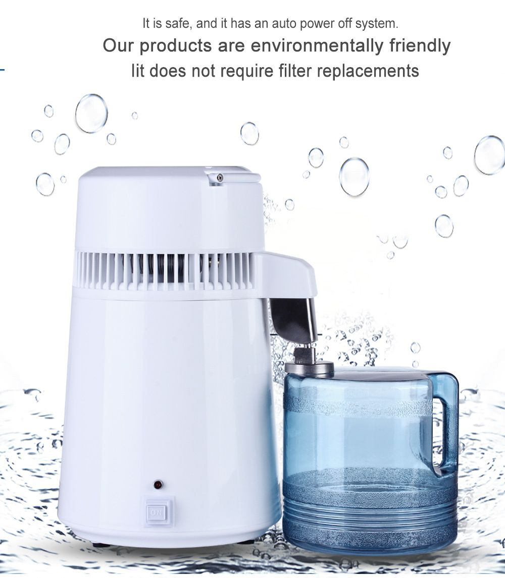 Housing Use Pure Water Distiller 4L Distilled Water Machine Distillation Purifier Stainless Steel Water Filter Russian Manual