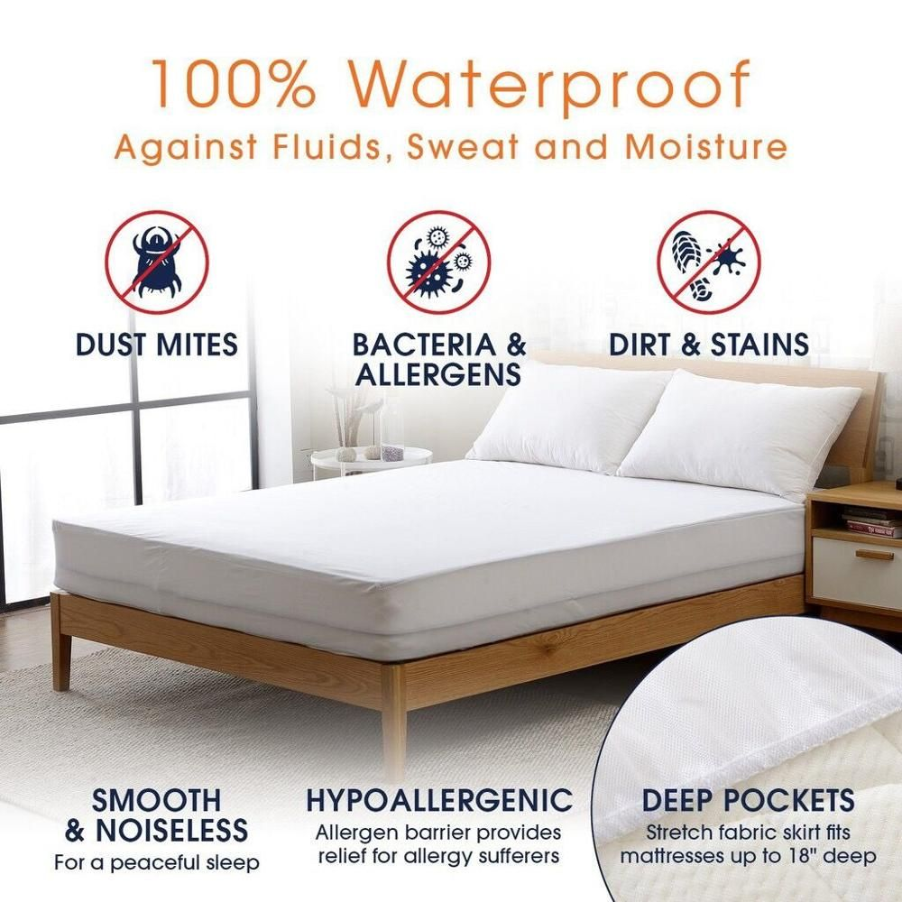 Turetrip Twin Full Queen King Smooth Waterproof Mattress Cover For Bed Mattress Protecto Machine <font><b>Washable</b></font> Bed Protector Matelas