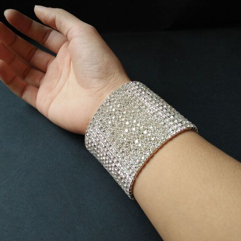 Gorgeous 15 Rows Bling Clear Rhinestone Stretch Bangle Bracelet Wedding Bridal Wristband for Women