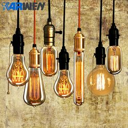 KARWEN vintage Edison bulb E27 лампада подвесной светильник в стиле ретро лампа накаливания 40 w 220 V электрическая лампочка эдисона для подвесной светильн...