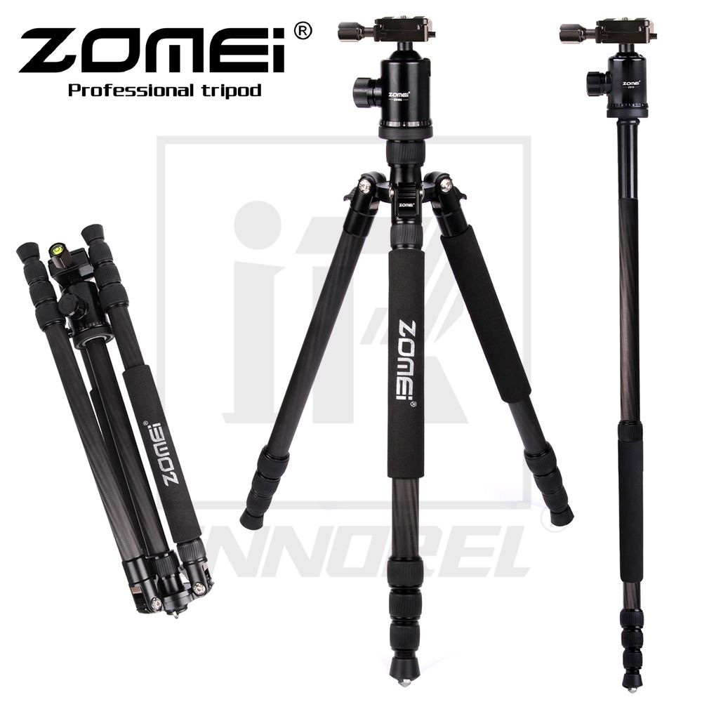 Hot goods Z888C Camera bracket Professional Travel Carbon Fiber camera tripod Monopod Ball head with case for DSLR camera