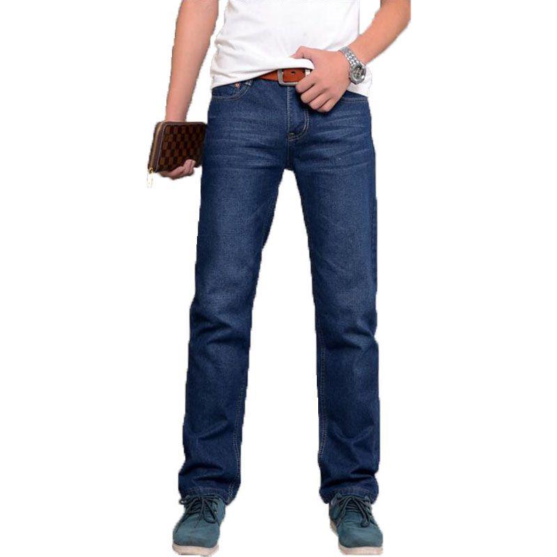 Хорошее качество, модные Для мужчин джинсы Homme одежда новый бренд молния прямой синий цвет бренд узкие джинсы Для мужчин Штаны Бесплатная до...