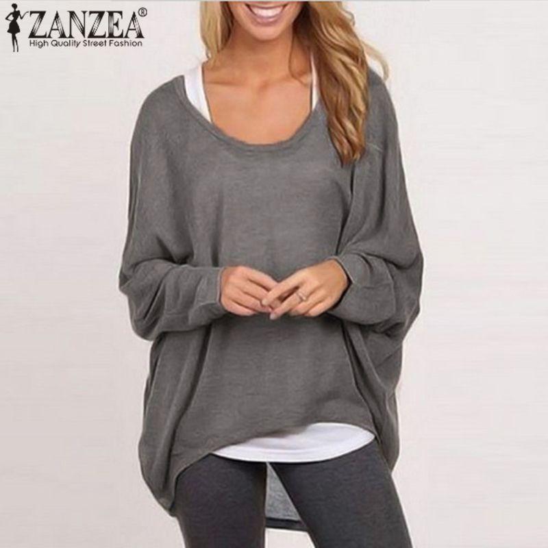 ZANZEA 2018 Femmes Chauve-Souris Manches Shirt Tops Lâche Long T-shirt Automne Tee Pull Casual Tricoté Blusas Femininas Plus La Taille 3XL