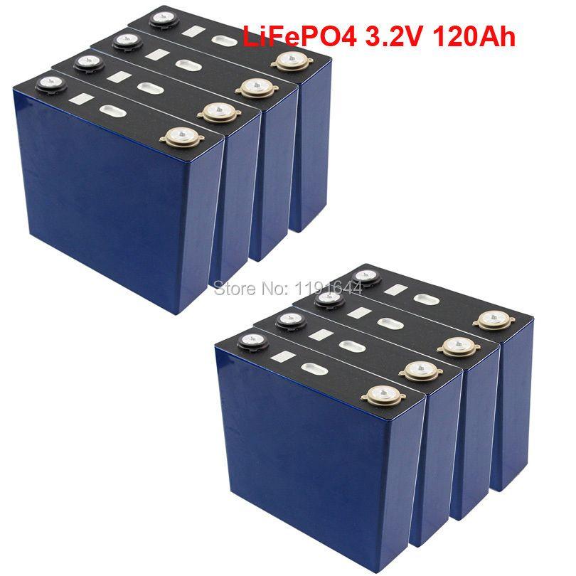 8 stücke 3,2 v 120Ah LiFePO4 Lange Lebenszyklus 3500 Mal Max 3C Für Solar Energie Lagerung Batterie pack E- fahrrad batterie