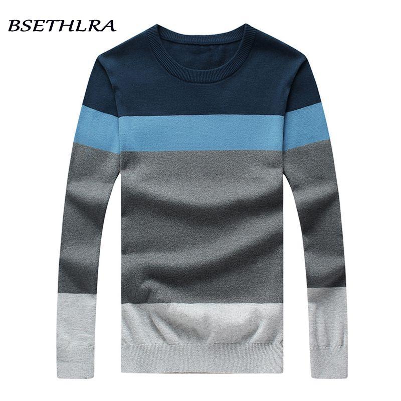 Bsethlra 2017 Новый свитер мужской осенний Лидер продаж дизайн лоскутное хлопок мягкий качество пуловер мужчины о-образным вырезом Повседневная ...