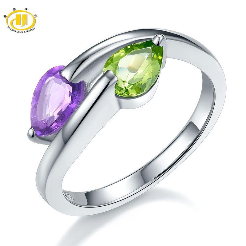 Hutang anneaux de mariage véritable pierre précieuse péridot améthyste 925 bague en argent Sterling bijoux en pierre Fine pour les femmes filles meilleur cadeau