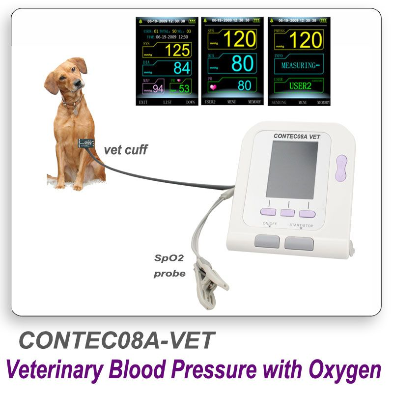 CONTEC08A Digital Veterinary NIBP Blood Pressure Monitor and pluse oximeter probe Animal ARM Circuference Cuff for VET