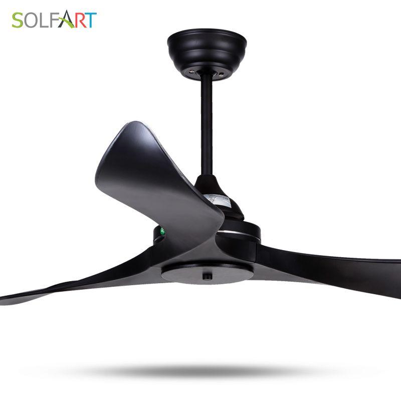 SOLFART ceiling fan dining fan blade plastic modern room fan ceiling fan with remote control safe and mute Black leaves slf9103