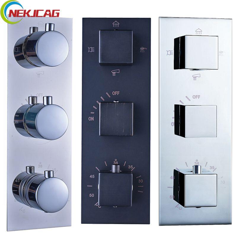 Thermostatic Faucet Cartridges Triple Mixer Valve Chrome ORB Brass 3-4 Ways Water Outlet Mixer Valve for Shower Set Panel