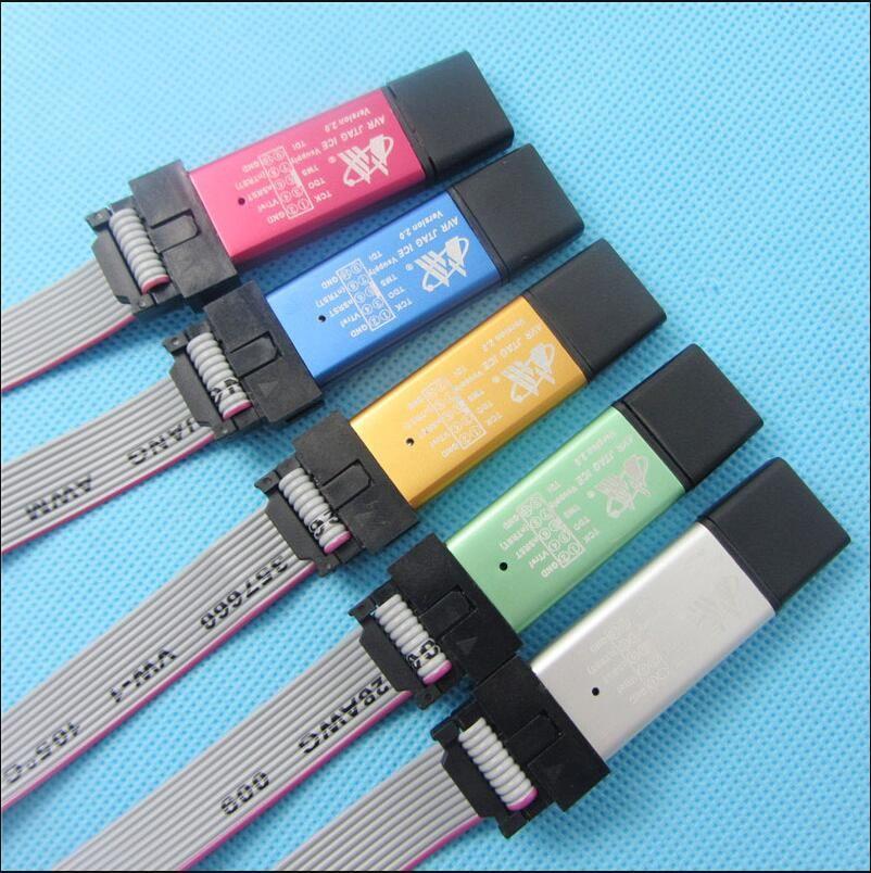 Émulateur de programmeur de téléchargement USB AVR JTAG ICE (coque en aluminium + Protection contre les surintensités + tension large + puce tampon + câble)