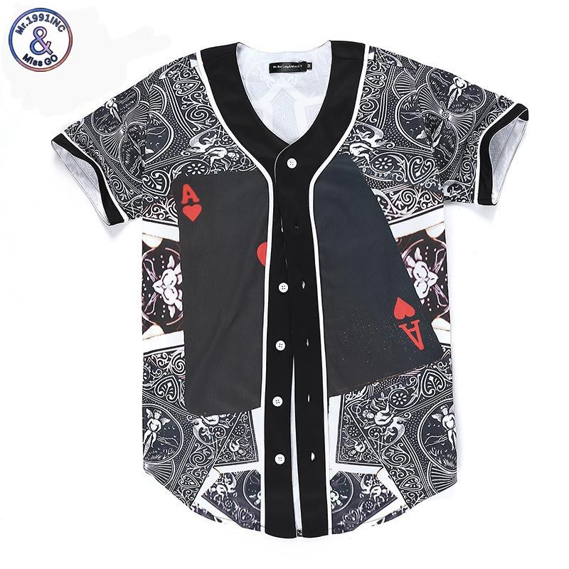 Mr.1991INC New Fashion Men/Women 3d T-shirt Funny Print Poker Red Hearts A Summer Tops Tees Jersey Button Shirts