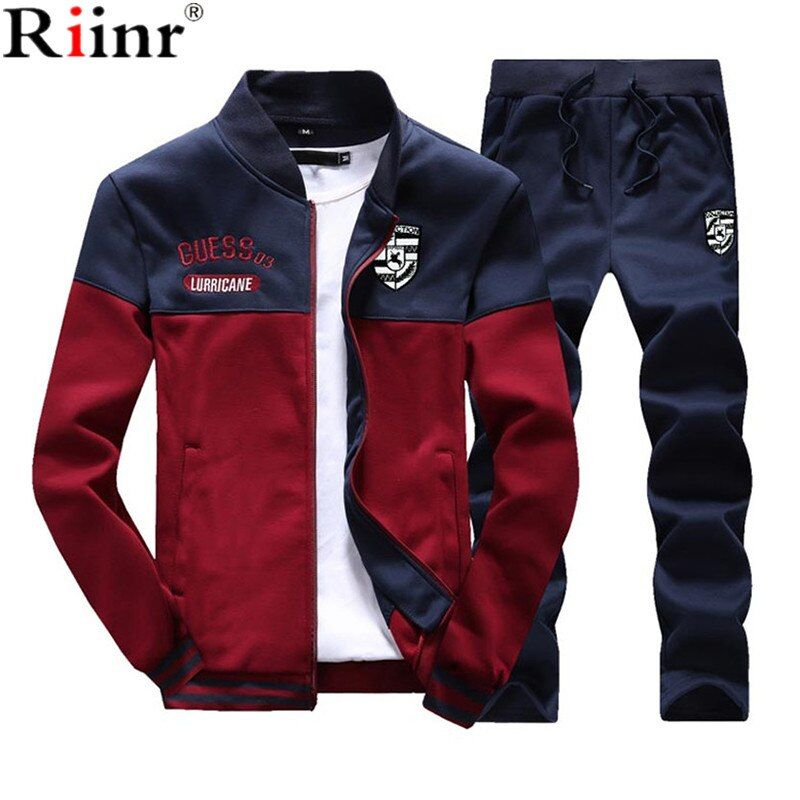 Riinr Brand New Men Sets Fashion Autumn Spring Sporting Suit Sweatshirt +Sweatpants Mens Clothing 2 Pieces Sets Slim Tracksuit
