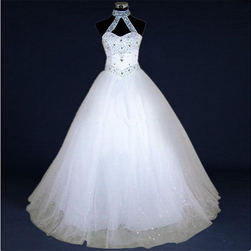 QQ Lover Elegant Beaded Ball Gown Wedding Dress Sexy Halter Vestido De Noiva With Real Pictures