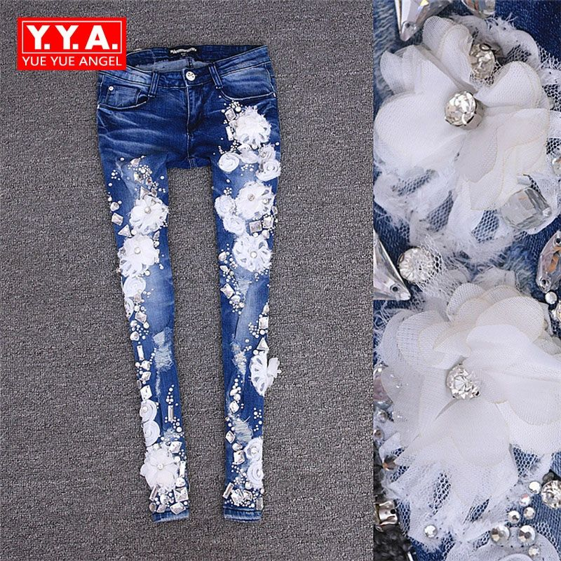 Summer Disk Flowers Rhinestone Jeans Hole Tight Elastic Pants Pencil Jeans Pants Slim Fit Fashion Washed Personalized Trousers