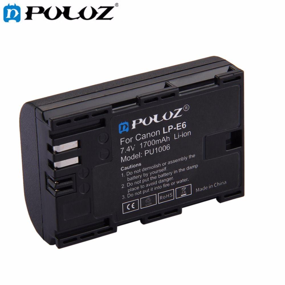 PULUZ LP-E6 7.4V 1700mAh Camera rechargeable Li-ion Battery for Canon 5D Mark II III IV 5D2 5D3 5D4, 5DS, 5DS R, 6D 7D Mark II