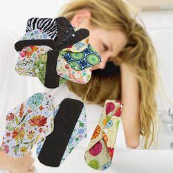 Reusable Bamboo Cloth Washable Menstrual Pad Mama Sanitary Towel Pad Beauty Flower printing Cloth Sanitary Pads for Women Girl