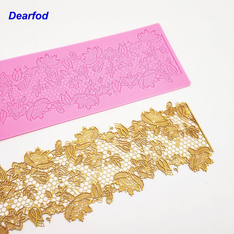 MX132 fleur motif dentelle moule Silicone sucre dentelle Pad gâteau bord décoration moule ustensiles de cuisine bricolage outil