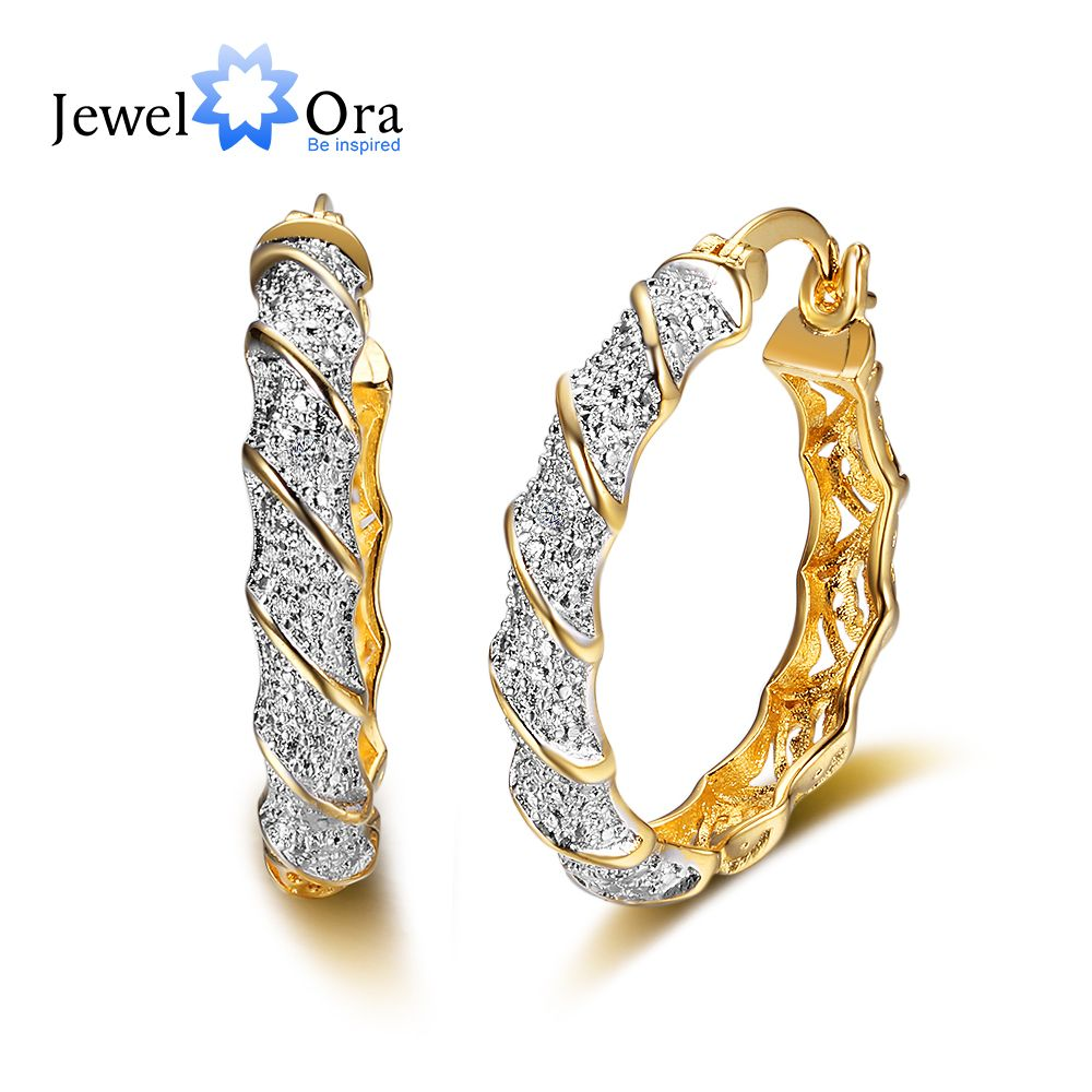 Classic Gold Color Zircon Luxurious Hoop Earrings For Women European Style Trendy Party Gifts for Women(JewelOra EA101789)