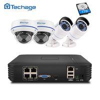 Techage 4CH 1080 P POE NVR комплект видеонаблюдения Системы 2MP 1080 P купол в помещении на открытом воздухе POE IP Камера P2P видеонаблюдения Системы комплект
