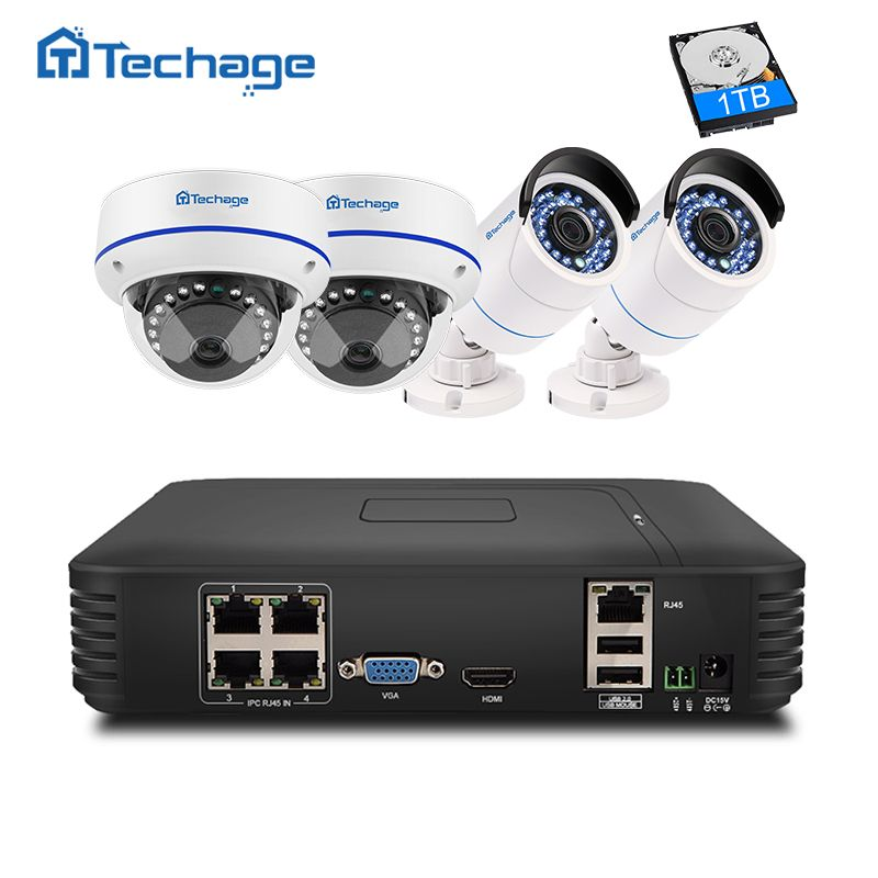 Techage Plug And <font><b>Play</b></font> 4CH 1080P POE NVR CCTV System 2.0MP Vandalproof Dome Indoor Outdoor IP Camera Security Surveillance System