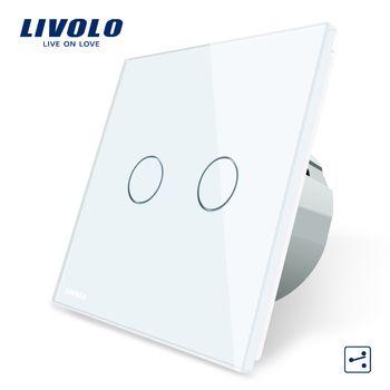 Livolo ЕС Стандартный сенсорный выключатель, 2 Gang 2 Way Управление, 3 цвета Кристалл Стекло Панель, настенный выключатель света, 220-250 В, C702S-1/2/3/5