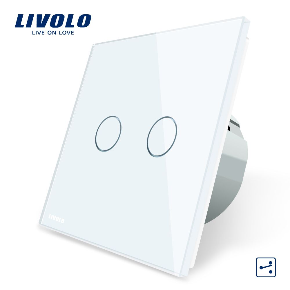 Livolo EU Standard Touch Switch, 2 Gang 2 Way Control, 3 Color Crystal Glass Panel,Wall Light Switch,220-250V,C702S-1/2/3/5