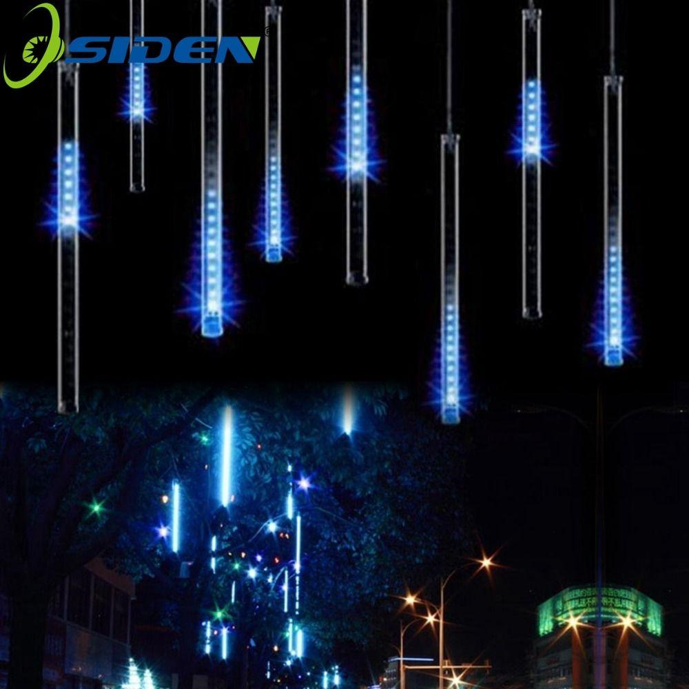 OSIDEN LED Meteor Shower Rain Lumières 20 cm 30 cm 50 cm 8 Tube/set LED De Noël De Mariage Jardin décoration Lumière de Corde 110 v/220 v