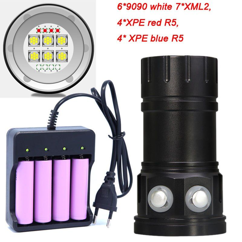 Diving 6*7*XM-L2 Flashlight 18650 Torch Underwater Photography Lights Video Lamp White Red Blue LED Scuba Photo Fill lighting