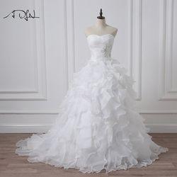ADLN 2018 Stock Corset Robes De Mariée Ivoire Blanc Robe de Mariée Princesse Organza Perlée Volants Plus La Taille Pas Cher Robes De Mariée
