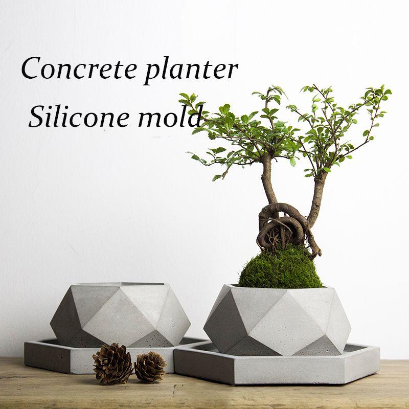 Big size 40*18.2cm polygon vase concrete planter mold handmade craft home decoration geometry cement flowerpot molds