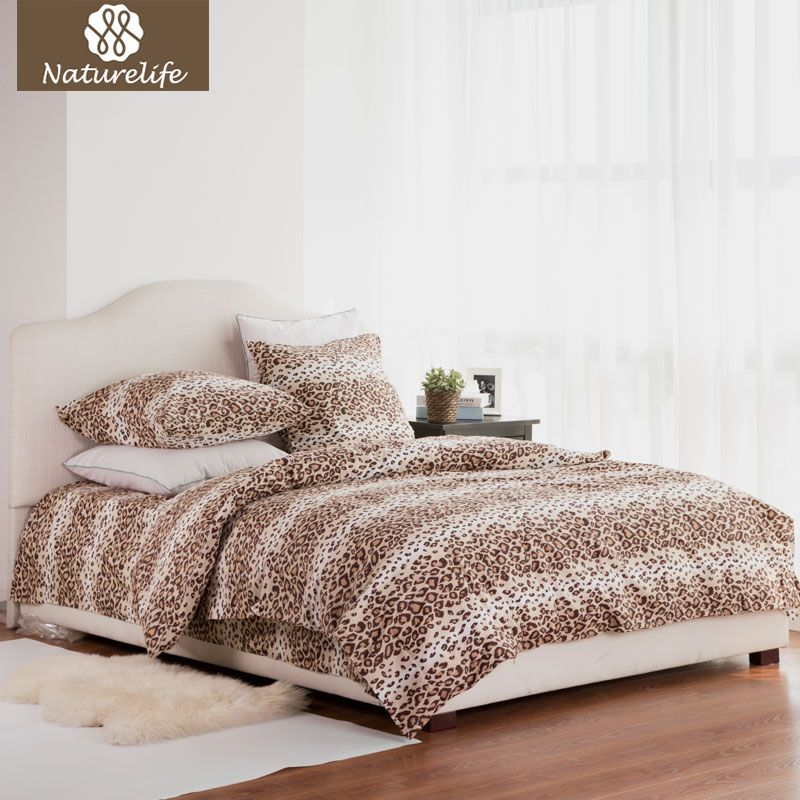 Naturelife Cotton Bedding Set Leopard Duvet Cover Sets Soft Bed Linen Flat Bed Sheet Set Pillowcase 4PCS bed cover