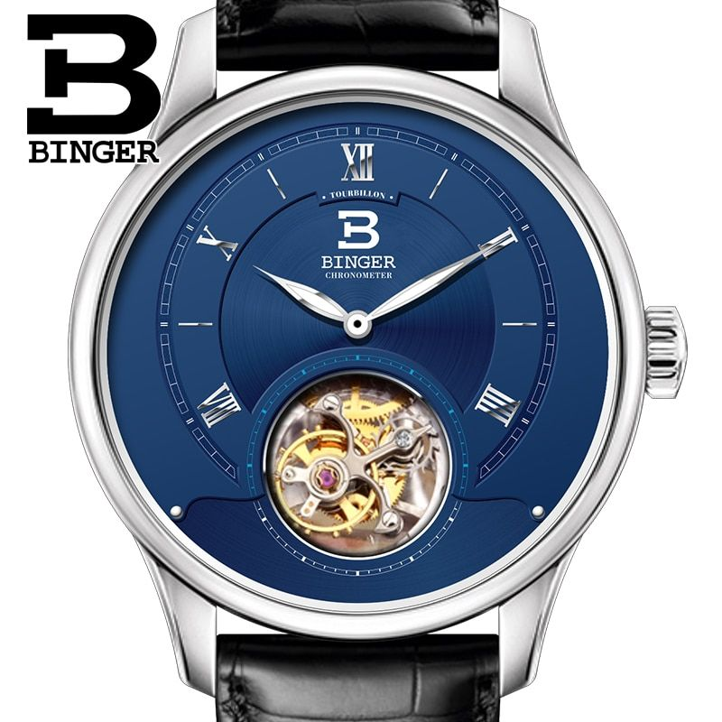 Luxury Switzerland BINGER Watches Men Japan Seagull Automatic Movement Tourbillon Sapphire Alligator Hide Men's Watch B80805-2