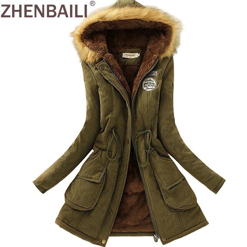 ZHENBAILI Winter Jacket Women ParkaS Warm Jackets Fur Collar Long Coats Parka Hoodies Office Lady Cotton Plus Size Hot