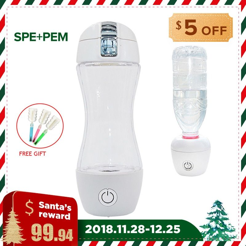 SPE/PEM Technology Hydrogen Water Generator 350ml TRITAN Cup Body Alkaline Water Ionizer Bottle Hydrogen Rich Water Maker WAC011