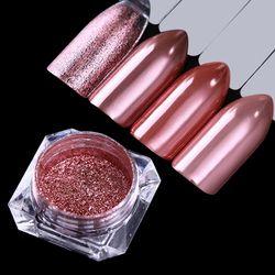 NÉS JOLIE 1 Boîte Miroir Rose Or Noir Bleu Violet Ongles Glitter Poudre Brillant Nail Art Chrome Pigment Nail Décoration